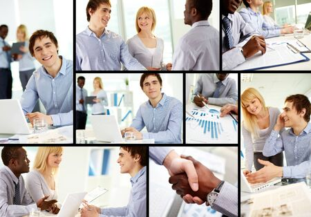 Collage of confident business partners at work photo
