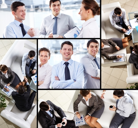 Collage of business team interacting during work photo
