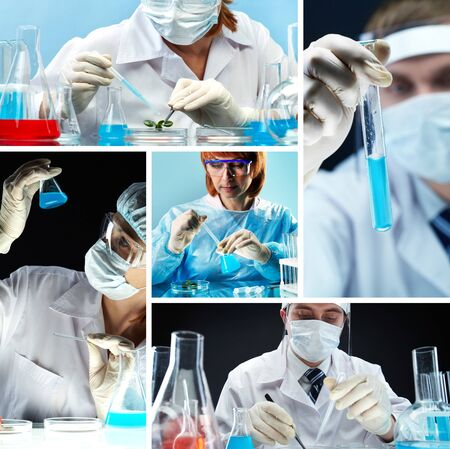 Collage of people in medical uniform working in lab photo