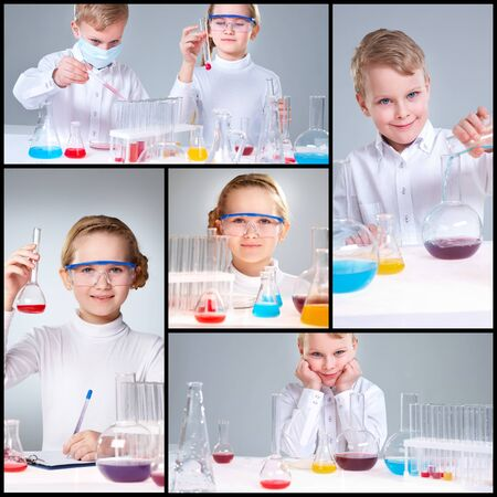 Collage of young prodigies carrying out scientific experiments photo