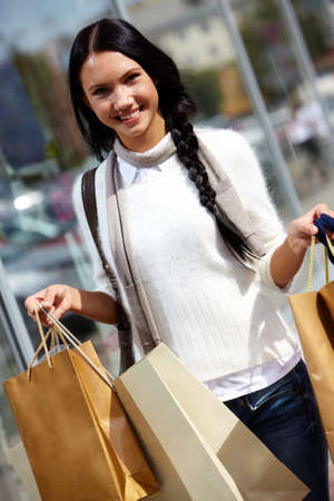 Image of happy female with paperbags after shopping Stock Photo - 14798627
