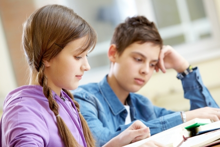 Portrait of teenage girl reading book with her classmate at background photo