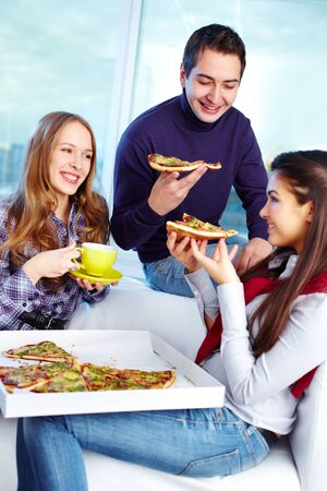 Image of teenage friends eating pizza together Stock Photo - 15104257