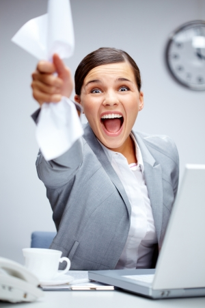 Image of happy businesswoman shouting in luck photo
