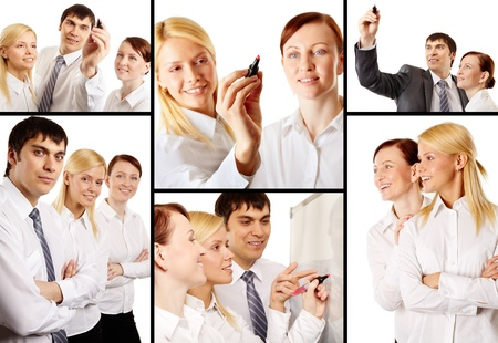 Collage of business team during marketing analysis photo