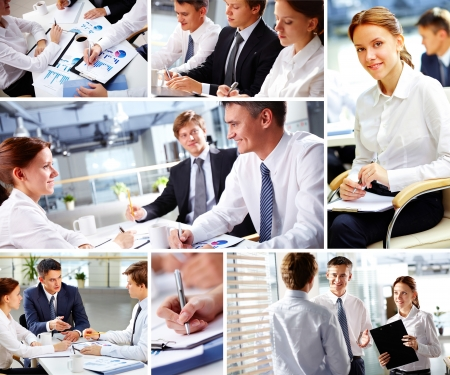 Collage of business people during work photo
