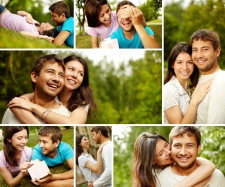 novio: Collage de una pareja encantadora en el campo
