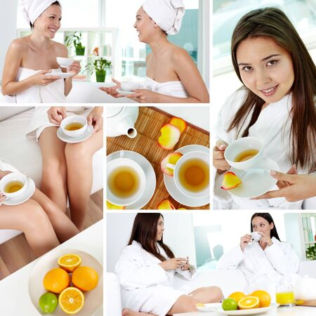 Collage of attractive girls in bathrobes relaxing in spa drinking tea photo