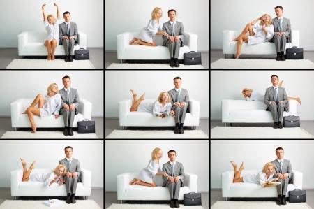 coquetear: Collage de una mujer hermosa y hombre de negocios serio en el sof� en diferentes situaciones Foto de archivo