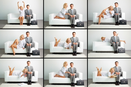 flirt: Collage of lovely woman and serious businessman on sofa in different situations