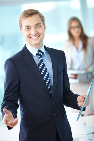 Portrait of cheerful boss in suit looking at camera Stock Photo - 15315977