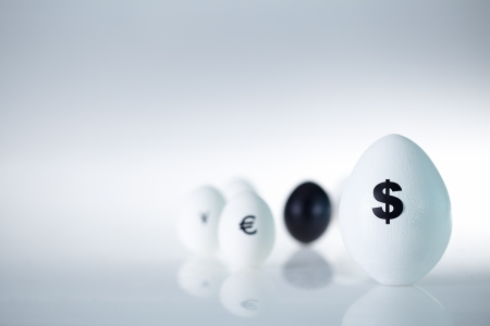 Image of big egg with dollar sign with group of eggs on background photo