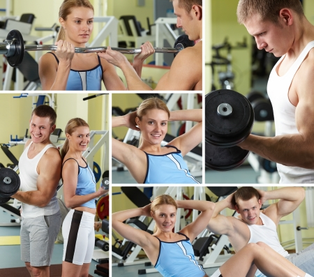 Collage of sporty people in gym  photo