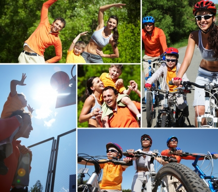 basketball team: Collage of happy family at leisure in summer