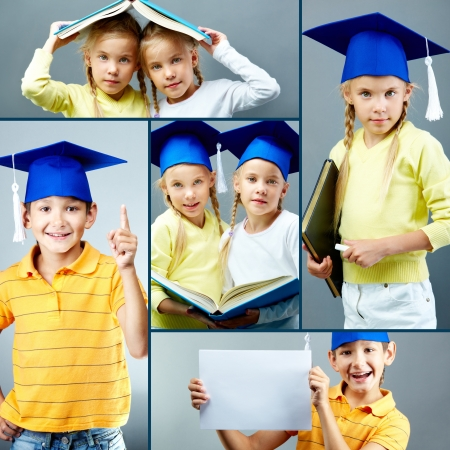 primary education: Portrait of cute kids in graduation hats over grey background Stock Photo