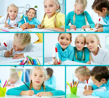 bambine gemelle: Scolaro Smart e due gemelle di disegno
