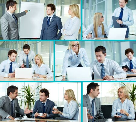 Collage composed of images of business companions working in team photo