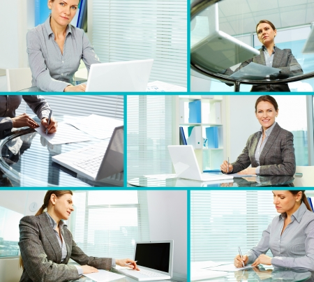 Collage of business lady sitting at her workplace and working photo