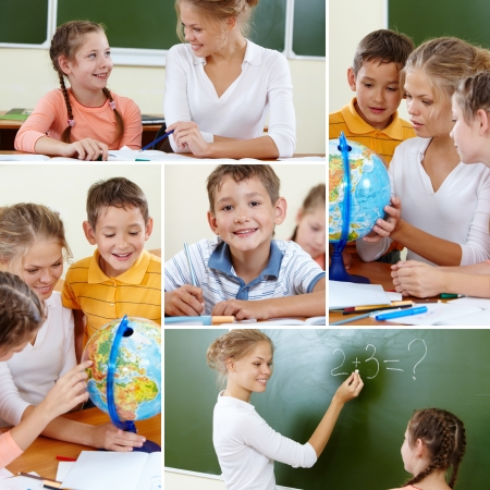 youthful: Collage of cute classmates and teacher at lesson