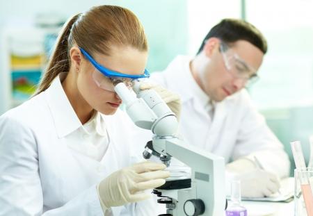microscope: Serious clínico química estudia los elementos de laboratorio