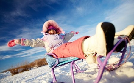 winterwear: Happy girl in winterwear having happy time outside Stock Photo
