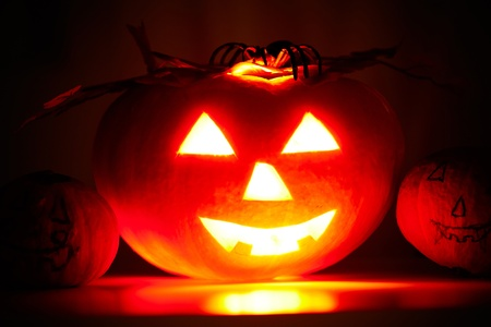 carved pumpkin: Photo of terrible pumpkin with grin on a black background