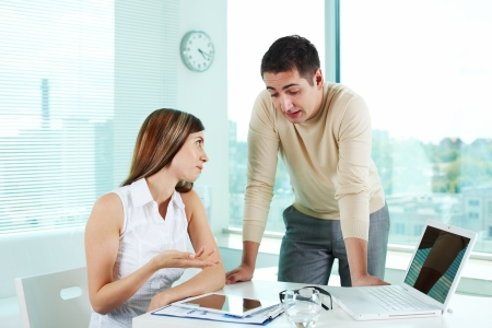 Image of confident businessman and his colleague planning work in office Stock Photo - 15761185