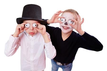 antichrist: Photo of two eerie boys frightening people on Halloween