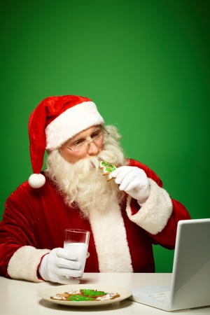Photo of Santa Claus in eyeglasses looking at laptop while drinking milk with cookies Stock Photo - 15978354