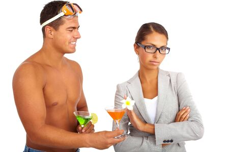 Portrait of topless guy with cocktails giving one to serious businesswoman rejecting his offer Stock Photo - 16085730