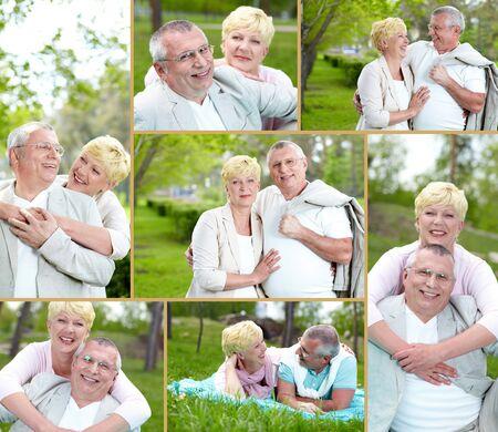 Collage of happy mature couple enjoying life outside photo