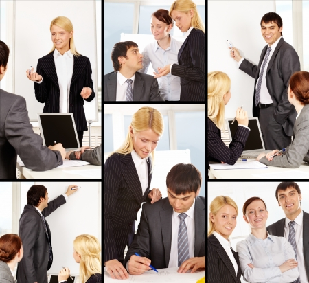 business training: Collage of businesspeople working in office