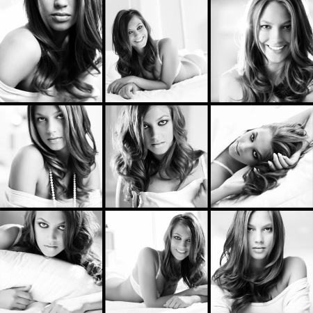 maquillage: Collage of posh young woman posing in front of camera