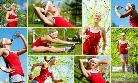girl in sportswear: Collage of happy young woman jogging and exercising outside