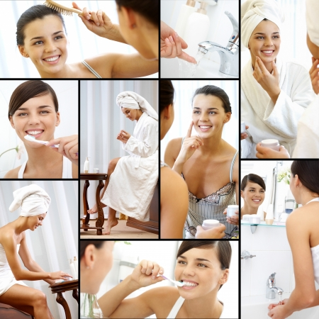 Collage of pretty female taking care of her beauty photo