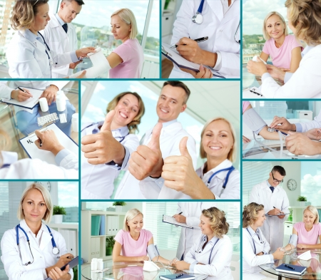 Collage of confident practitioners and patient in hospital Stock Photo - 16304954