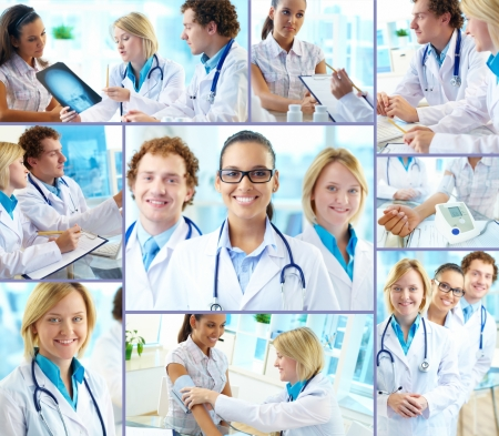 Collage of confident practitioners at work in hospital photo