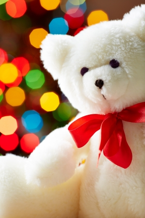 toy bear: Image of white soft toy bear on sparkling background