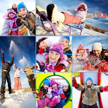 Collage of happy kids in winterwear having fun outside Stock Photo - 16499329