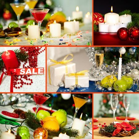 Collage of Christmas objects and symbols photo