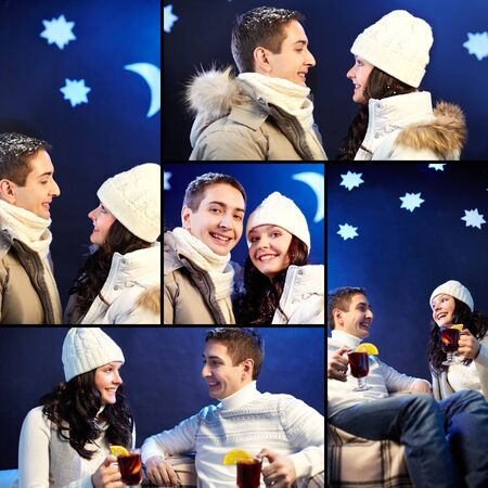 winterwear: Collage of happy couple in winterwear spending evening together