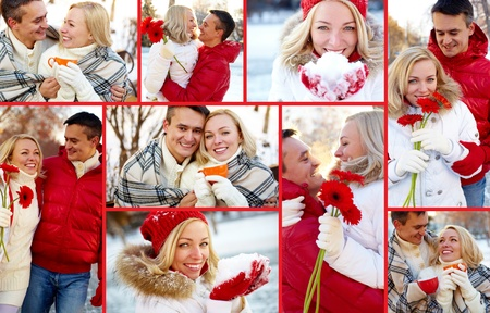 Collage of happy man and woman enjoying being together in winter photo