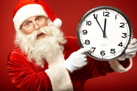 forthcoming: Photo of Santa holding clock showing five minutes to midnight and warning about forthcoming Christmas