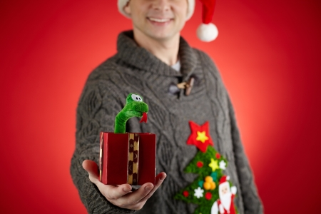 Close-up of happy man in Santa cap showing toy snake in open giftbox Stock Photo - 16499248