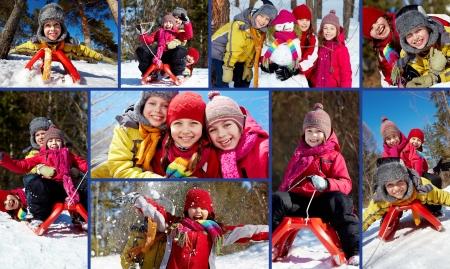 winterwear: Collage of happy friends in winterwear having fun outside Stock Photo