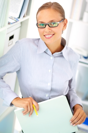 Portrait of elegant businesswoman looking at camera with smile Stock Photo - 16730304