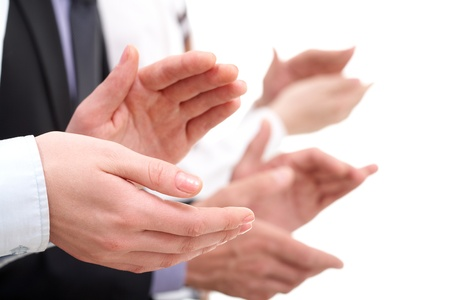 applause: Photo of businesswomans hands applauding at background of partners