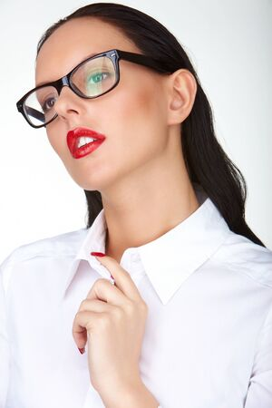 Gorgeous woman with red lips and eyeglasses