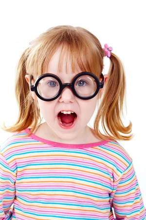 Portrait of a girl in funny glasses looking at camera Stock Photo - 17087952