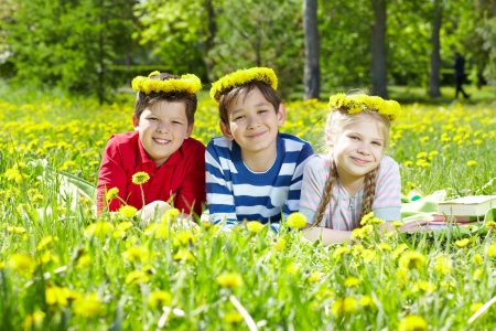 Three children with dandelion wreaths having rest on grass  Stock Photo - 17154160